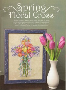 our lovely stitched Spring Floral Cross using luscious Sullivan's threads.