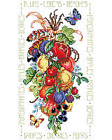 Luscious Colorful Fruits -  It's only the best for you with this rendering of fruits of the orchard and vineyard depicted at the peak of perfection. The bunch is tied up with ribbons and feathers with beautiful butterflies floating by to sample the harvest.
