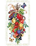 Nature's Gifts - PDF: Luscious Colorful Fruits -  It's only the best for you with this rendering of fruits of the orchard and vineyard depicted at the peak of perfection. The bunch is tied up with ribbons and feathers with beautiful butterflies floating by to sample the harvest.