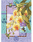 Welcome nature into your home with this breathtaking piece that flaunts gorgeous hummingbirds and cascading yellow orchids. The background of lavender and aqua have Asian motifs, bamboo border and layers of detail not usually seen in cross stitch. We are proud of this elegant design.