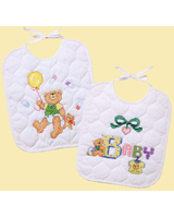 Wouldn't your baby love to model these darling pair of bibs at mealtime?