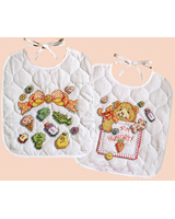 This pair of bibs shows what's important to a toddler at mealtime.