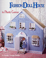What a wonderful showcase for your fashion doll! Create this sturdy dollhouse entirely of plastic canvas, worsted weight yarn and some trims. Stitch and assemble the house as eight separate modular units that fit together with architectural precision and stability.