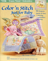 As sweet and loveable as a newborn, Linda Gillum's baby animal designs will steal your heart. The adorable quilt, pillow, banner and tote projects are styled in the tinted art of the Twenties but with a new twist-tinted areas are colored using everyday crayons. Great for beginners, each project is easy to color, easy to  embroider and easy to quilt.