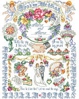 Mark the glorious occasion and big day of two newlyweds by tying together this beautiful wedding cross stitch design! The perfect gift for a very lucky couple in your life.