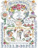 Our Wedding Sampler - PDF: Mark the glorious occasion and big day of two newlyweds by tying together this beautiful wedding cross stitch design! The perfect gift for a very lucky couple in your life.