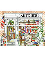 Take a walk down memory lane. This depiction of an old-town antique shop will surely bring you a bit of nostalgia for days gone by at Grandmother's house.