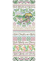 Elevate your interior décor with this sweet and intricate band style sampler accent piece that features the inspirational poem <i>Kind Hearts Are Gardens</i>. This design uses five specialty Kreinik threads, braids or cords.