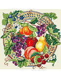 Array of Fruit - PDF: Our Fruit and Berry Wreath is a celebration of the harvest and autumn colors! A thicket of berries is scattered among rich red apples, golden pears, and grapes to welcome the season of thanks. Makes a truly unique gift for Thanksgiving, Halloween, weddings and housewarmings.