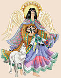 Angel of the Southwest - PDF: Celebrate the history and tradition of the Southwest with this beautiful Native American Angel. This truly amazing design features a Native American angel with a wolf.  The vibrant colors will bring serenity and peace into your home.