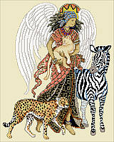 This angel of the safari is dressed in traditional tribal clothing and surrounded by the wild animals of Africa.