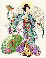 This Japanese angel delights in her traditional kimono dress with flowing sleeves and vibrant cherry blossom designs while holding exotic birds.