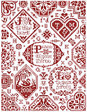 Simple Blessings Sampler - PDF: This charming wall art makes a warm addition to your home's décor. Features easy-to-stitch simple heartfelt messages all finished in red.