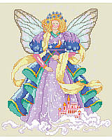 """Dream big!"" It's always good advice. This colorful design will remind you to do just that!  This lovely lady stands gazing upon a fairytale castle. She wears a jewel-toned dress accented in blue and green, and has wings that match. With her magic wand in hand she's conjuring up magical dreams."