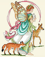 Bring a little nature into your world with this amazing faerie who cares for the animals of the forest! Holding a bunny and strolling with a deer and fox friend, this faerie of the forest protects our wildlife with love and magic.