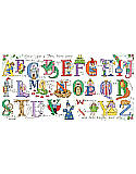 Once Upon a Time Alphabet - PDF: Fairytale alphabet cross stitch art made for a prince or princess! Encourage their imagination to grow along with wizards, mermaids and faerie's, while they learn their ABC's. Stitch up a name sign with specific letters or the entire alphabet as a sampler. Part of the Kooler baby collection, this alphabet is sure to create a 'happily ever after' for your special one.