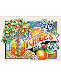 Oranges - PDF: Bring bright summer colors to your kitchen with this juicy cross stitch design!