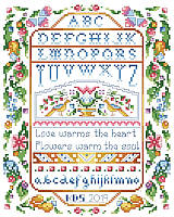 Our long out of print classic sampler with a variegated thread effect using only solid floss colors will be an instant heirloom.
