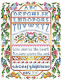 Love Warms the Heart Sampler - PDF: Our long out of print classic sampler with a variegated thread effect using only solid floss colors will be an instant heirloom.