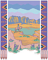 Add desert beauty to your walls with this Southwest-inspired landscape framed with a Native American pattern.