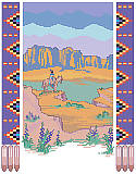 Desert Panorama - PDF: Add desert beauty to your walls with this Southwest-inspired landscape framed with a Native American pattern.