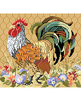 This regal Rooster stands tall, showing off its impressive plumage and royal red crown.  Perfect for your country kitchen, this barnyard king crows on a warm orange background surrounded by a bed of morning glories. The perfect mate for our Henrietta Hen. Check out the rest of the Kooler chicken and rooster decor collection.