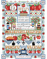 What a delicious and crisp cross stitch project!  Apples of all kinds, alphabets galore and sweet kitchen details all make for a fun stitch by designer Linda Gillum. Any way you slice it, this classic country sampler is colorful and the perfect design to add rustic farmhouse charm to your home!