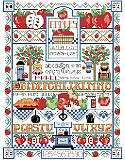 Apple Sampler - PDF: What a delicious and crisp cross stitch project!  Apples of all kinds, alphabets galore and sweet kitchen details all make for a fun stitch by designer Linda Gillum. Any way you slice it, this classic country sampler is colorful and the perfect design to add rustic farmhouse charm to your home!