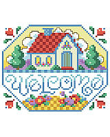 Celebrate your home and family with this thoughtfully created little cross stitch sign that brightens your living space with heartwarming charm.