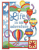 Life is an Adventure - PDF: Get ready for high-flying fun with this aerodynamic hot air balloon design with a sweet uplifting message!