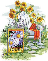 Summer Garden Flag by designer Linda Gillum is an abundant and beautiful display for summer relaxing. With sunflowers, stepping stones and a blanket to keep you cozy in your Adirondack chair on a summer afternoon. The addition of a garden flag makes this a modern take on backyard beauty.