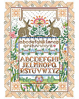 This clever and unique sampler design features two playful bunnies surrounded by a lovely and intricate ribbon and floral border. A touch of Art Nouveau design makes this classic and beautiful sampler a treasured heirloom. Adds an especially charming touch to any Easter décor or enjoy year round