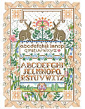 Rabbit Sampler - PDF: This clever and unique sampler design features two playful bunnies surrounded by a lovely and intricate ribbon and floral border. A touch of Art Nouveau design makes this classic and beautiful sampler a treasured heirloom. Adds an especially charming touch to any Easter décor or enjoy year round