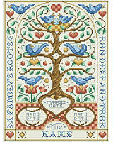 The quote 'A Family's Roots Run Deep and True' runs around the border of this charming family tree design. This classic Jacobean inspired family tree has beautiful motifs of blue birds, hearts and flowers, with plenty of room to add up to six names of children. Includes a second chart to show you where to place names to replace each bird to proudly display the names of the most important people of you life. This adorable family tree showcases the beginning of your family starting with your weddi