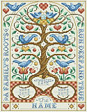 A Family's Roots - PDF: The quote 'A Family's Roots Run Deep and True' runs around the border of this charming family tree design. This classic Jacobean inspired family tree has beautiful motifs of blue birds, hearts and flowers, with plenty of room to add up to six names of children. Includes a second chart to show you where to place names to replace each bird to proudly display the names of the most important people of you life. This adorable family tree showcases the beginning of your family starting with your weddi