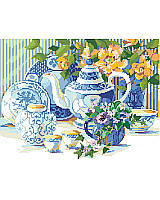 Steeping in savored charm, this blue and white tea time still life seems to come alive with the bright peach begonias and pretty purple pansies amid a beautiful China tea set. This lovely setting, by Nancy Rossi, would be a cherished addition to a blue and white collection.