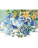 Blue and White Tea Set - PDF: Steeping in savored charm, this blue and white tea time still life seems to come alive with the bright peach begonias and pretty purple pansies amid a beautiful China tea set. This lovely setting, by Nancy Rossi, would be a cherished addition to a blue and white collection.