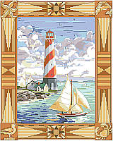 Add a dose of nautical style with this big and beautiful seaside scene featuring a lighthouse and a ship at the harbor. Designer Nancy Rossi captures the  dramatic sky, ocean breezes and windy sails with ease.