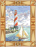 Around the Pointe - PDF: Add a dose of nautical style with this big and beautiful seaside scene featuring a lighthouse and a ship at the harbor. Designer Nancy Rossi captures the  dramatic sky, ocean breezes and windy sails with ease.