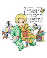 "This lovely vintage style cross stitch features a baby surrounded by toys and a heart warming message ""Just when a mother thinks her work is done, she becomes a grandmother."" Warmly dressed, this little one is happy to celebrate his grandma! The perfect Grandparents' Day gift, or give to Grandma as a birthday gift, appreciation gift, or just because."