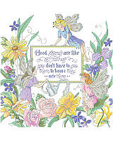 "Make everyday magical! These sweetly charming fairy friends are ready to add a touch of magic to your collection with their fairy wings and darling floral details. Sharing the message ""Good friends are like fairies, you don't have to see them to know they are there"", this heartwarming cross stitch design lets someone special know how important they are to you. Cultivate your friends like you would a garden."