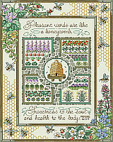 "Your décor will be all abuzz with the addition of this bee-utiful design by Sandy Orton. Long out-of-print, we are thrilled to bring this masterpiece sampler back. This delightful garden sampler for the experienced stitcher features an intricate honeycomb pattern, bees, floral and garden motifs, along with the proverb ""Pleasant words are like a honeycomb, sweetness to the soul and health to the body."""