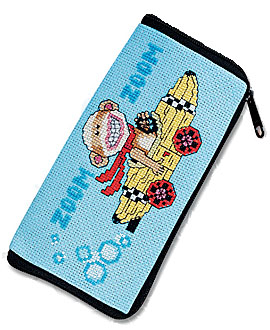 He really is Going Bananas! Monkey thinks riding in a banana is the best racing car there is. This eyeglass / cellphone case is a design by Linda Gillum.