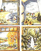 """Four Window Scenes"" is truly one to cherish. Each window has a scene with beautiful colors and settings for that special time. Summer on the beach with sale boats adrift, or Autumn with its foliage at its best, are just two of four windows."