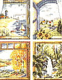 "Four Window Scenes - Kit: ""Four Window Scenes"" is truly one to cherish. Each window has a scene with beautiful colors and settings for that special time. Summer on the beach with sale boats adrift, or Autumn with its foliage at its best, are just two of four windows."