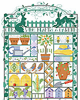 This delightful Garden Sampler is pieced like a quilt.