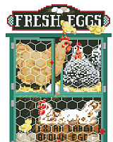 The chickens come home to roost! This classic design will bring fond memories of the old family farm with the chickens happily grazing in their coop. Linda Gillum designed this colorful and warm design.