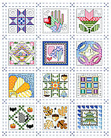 If stitching full size traditional quilt blocks seems too daunting, try stitching 12 tiny quilt block designs instead.  These adorable and charming little square motifs fit the seasons and each month of the year and look fabulous as a grouping consisting of all twelve. They would also make great birthday gifts, stitched up on cards, bookmarks or in small frames for that special friend or quilting aficionado.
