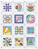 Quilt Block of the Month Sampler - PDF: If stitching full size traditional quilt blocks seems too daunting, try stitching 12 tiny quilt block designs instead.  These adorable and charming little square motifs fit the seasons and each month of the year and look fabulous as a grouping consisting of all twelve. They would also make great birthday gifts, stitched up on cards, bookmarks or in small frames for that special friend or quilting aficionado.