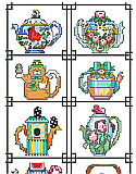 Teapot of the Month Sampler - PDF: Twelve tiny teapots to celebrate the year are included in this adorable collection of designs.